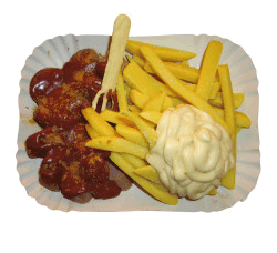 Pommes Currywurst Mayo