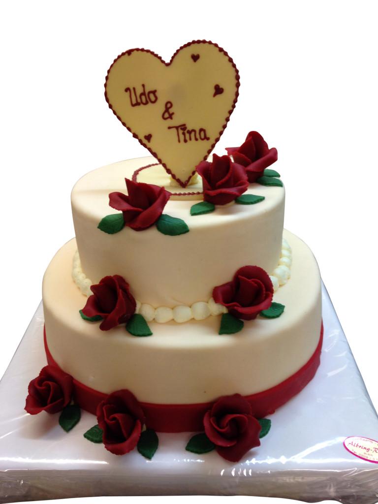 2 st ckige torte mit roten rosen hochzeitstorten caf conditorei albring r del. Black Bedroom Furniture Sets. Home Design Ideas