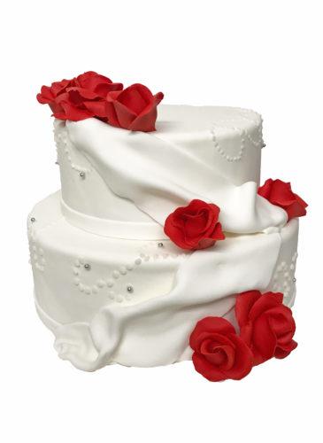 Klassische Weisse Torte Mit Rosen Hochzeitstorten Cafe